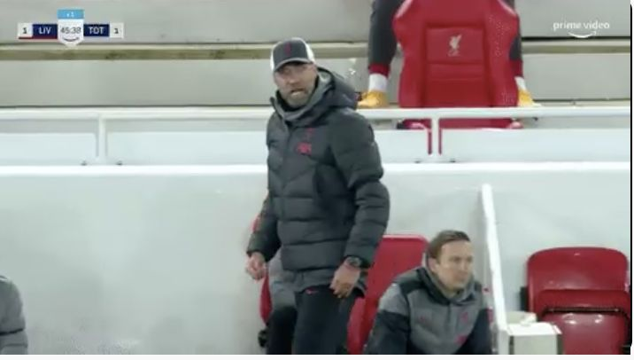 (Video) Klopp fuming on touchline before half-time despite Liverpool's excellent 45 minutes