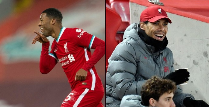 (Photos) Wijnaldum drops van Dijk's celebration after belter goal and the big man loves it