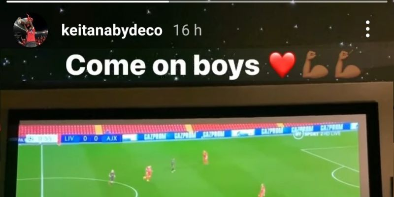 (Photo) Naby Keita shows support for team-mates at home as LFC qualify for UCL knockouts