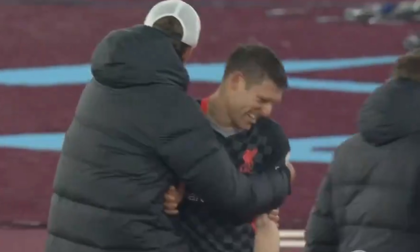 (Video) Milner in hysterics after he kicks off at Klopp and replacement Jones assists seconds later