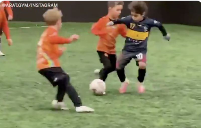 (Video) Liverpool's Mini Messi goes viral again after ridiculous solo-goals in training with kids twice his size