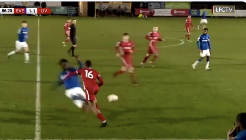 (Video) Wow: Everton U23 sent off for absolute horror-tackle v Liverpool last night
