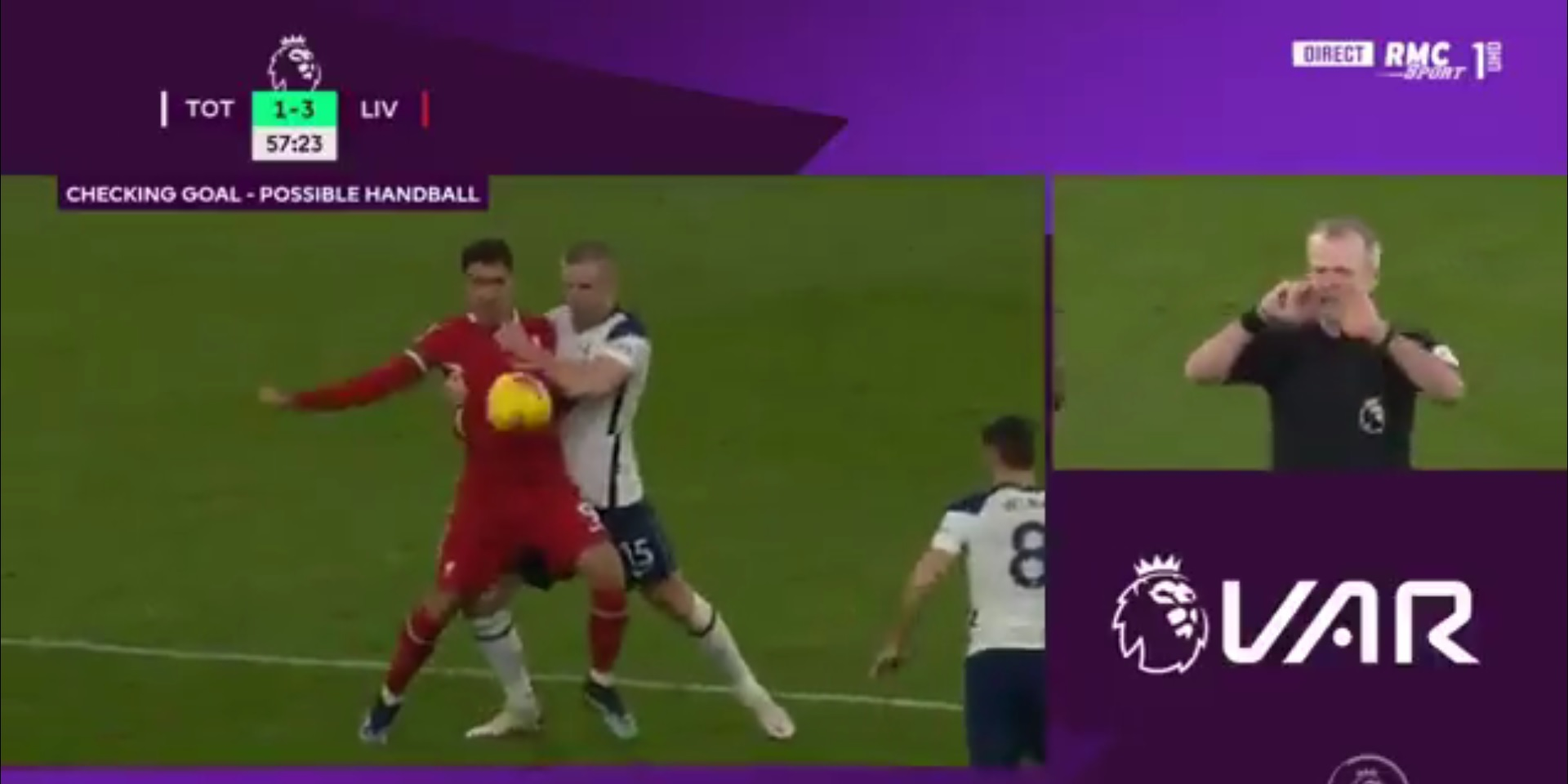 (Video) Atkinson and VAR totally screw LFC by ruling out great Salah goal after missing Dier wrestling Bobby