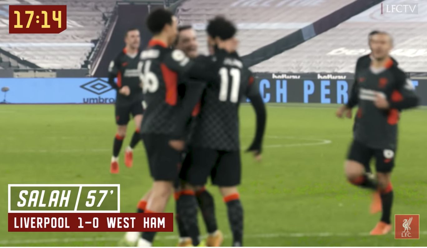 (Video) Thiago's scream after Mo Salah's opening goal v West Ham shows the relief LFC felt when it went in