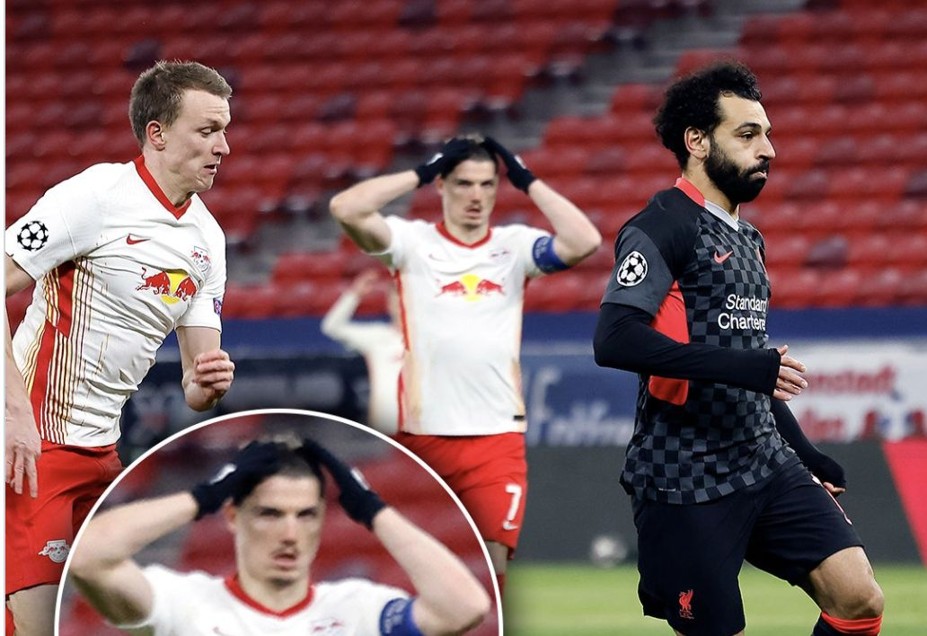 (Image) Rb Leipzig ace knew exactly what was about to happen as Mo Salah ran through on goal…