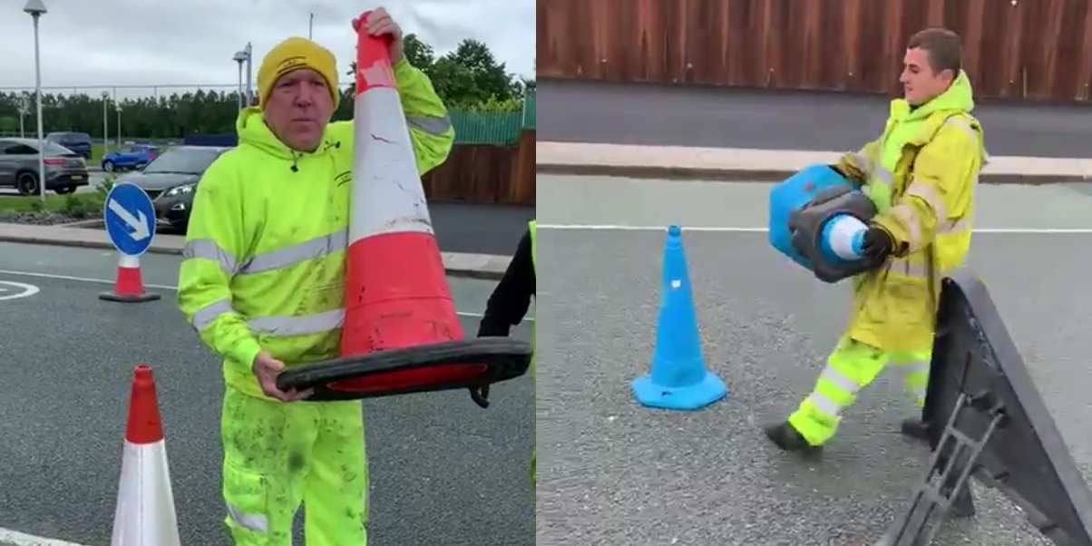 (Video) Everton told construction workers to replace red cones with blue ones in laughable clip