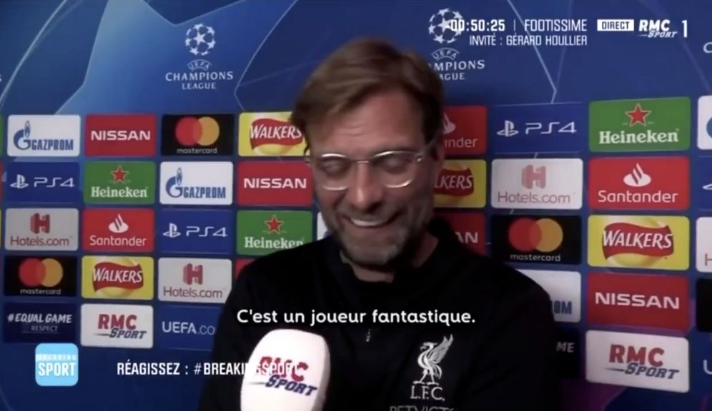 (Video) Watch Klopp giggling about how good Mbappe is in 2018: 'I love him, to be honest'