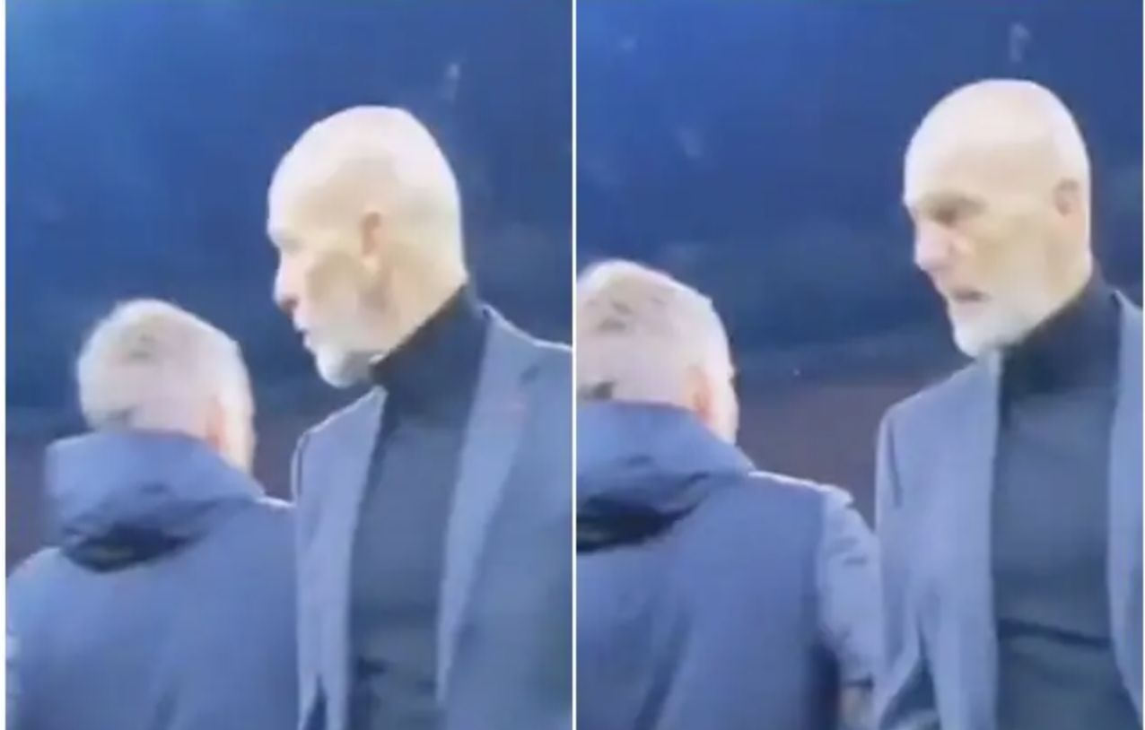 (Video) AC Milan manager loses cool and sends for Solskjaer's sister post-match: 'Your sister is a good team, your sister!'