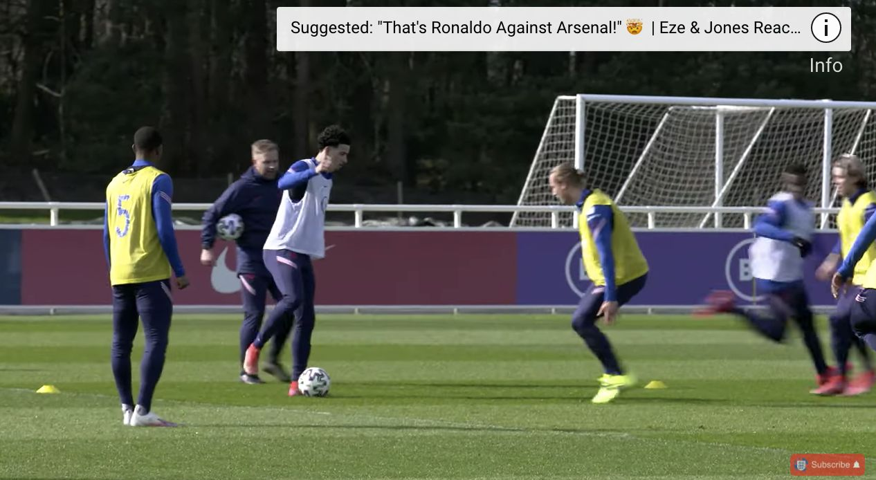 (Video) Curtis Jones' goals and tricks in England U21 training; Scouser showing off new level before Euros