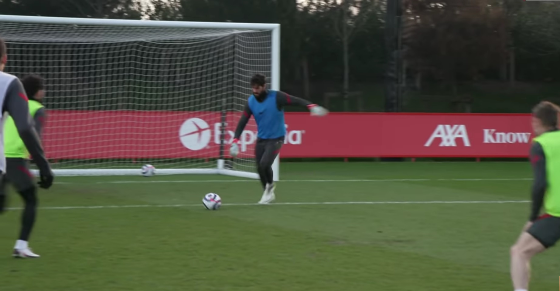 (Video) Alisson scores past Adrian in training and celebrates with knee slide