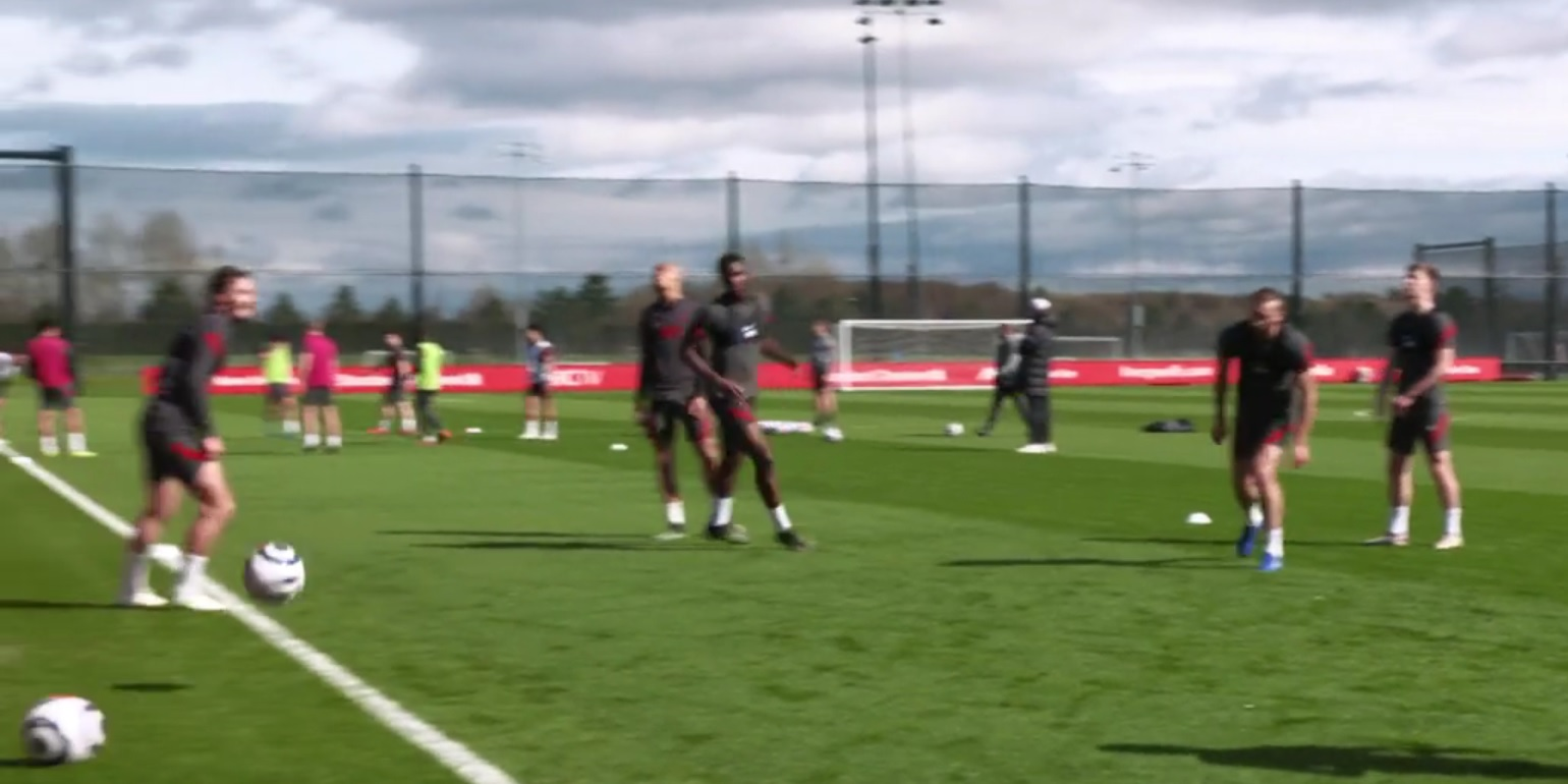 (Video) Liverpool youngster looks massive in first-team training; towers over January signing