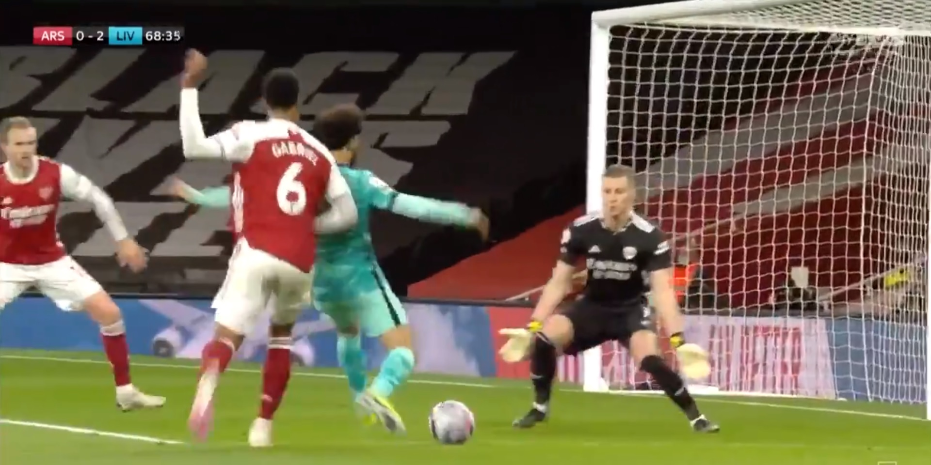 (Video) Salah demonstrates ridiculous pace to beat Arsenal defender to the ball before scoring glorious nutmeg