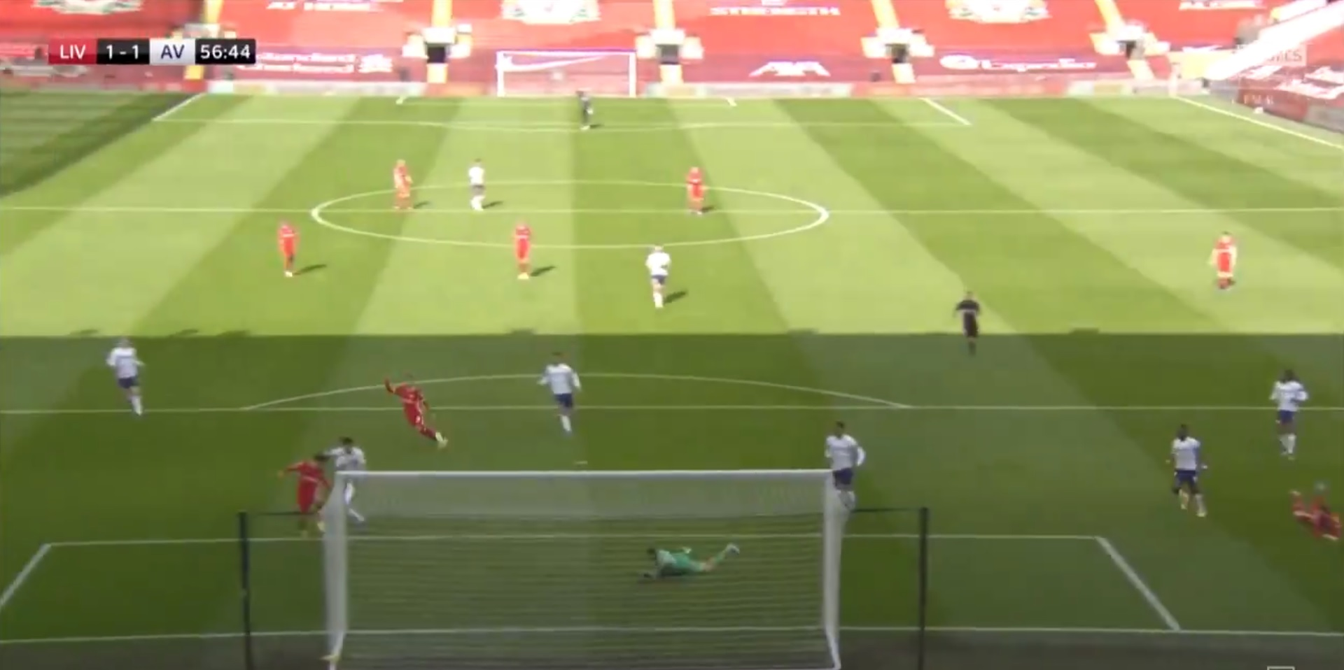 (Video) Salah pounces on loose ball for Villa equaliser as keeper palms away Robertson scorcher