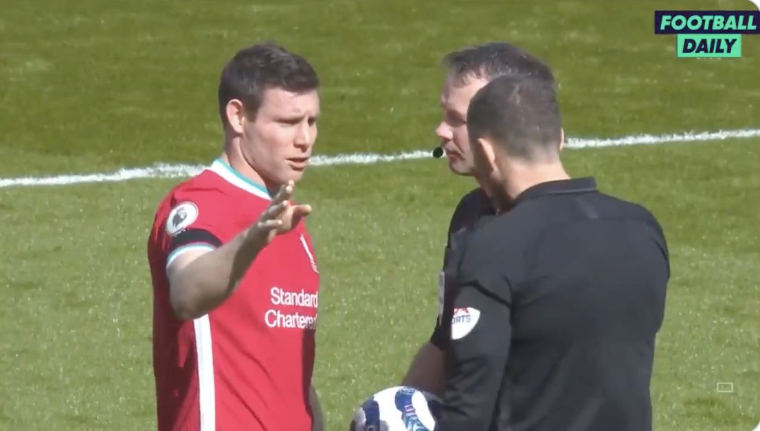 (Video) James Milner rightly gives referees a verbal bashing for nonsense decision