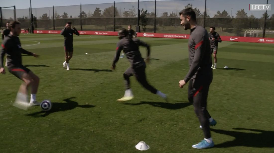 (Video) Kabak nutmegs Mane and Sadio begs LFCTV not to show the footage