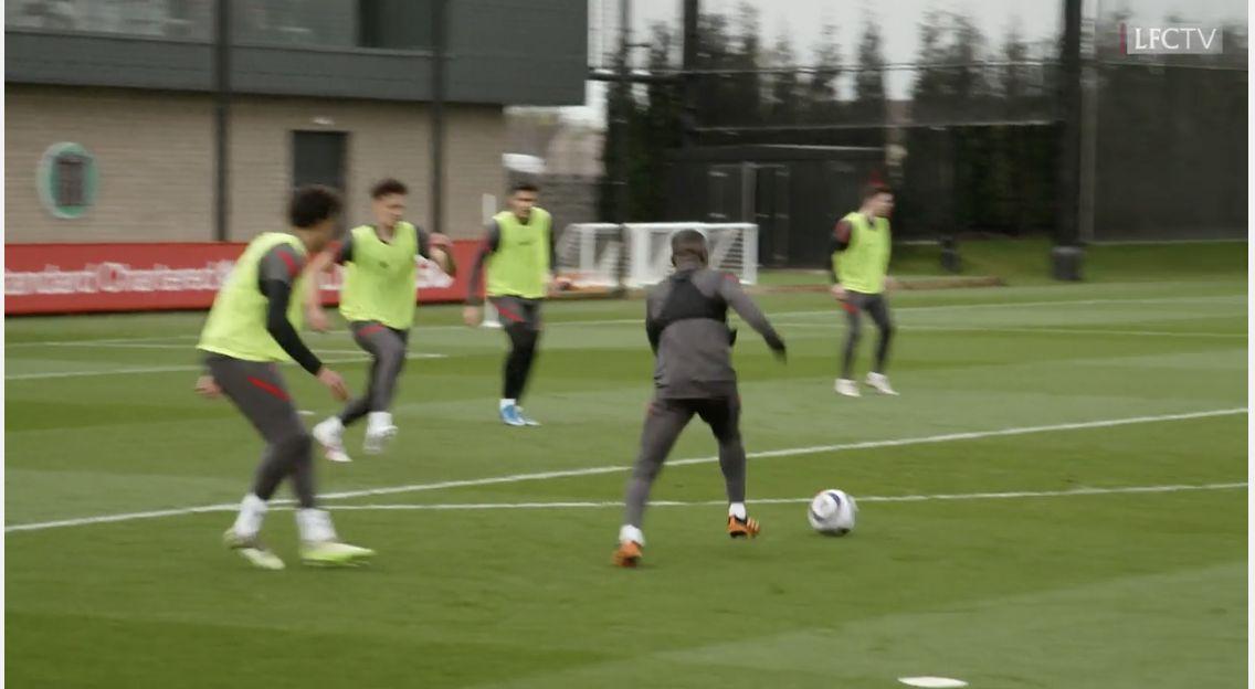 (Video) Keita scores peach as Liverpool do intensive shooting drills