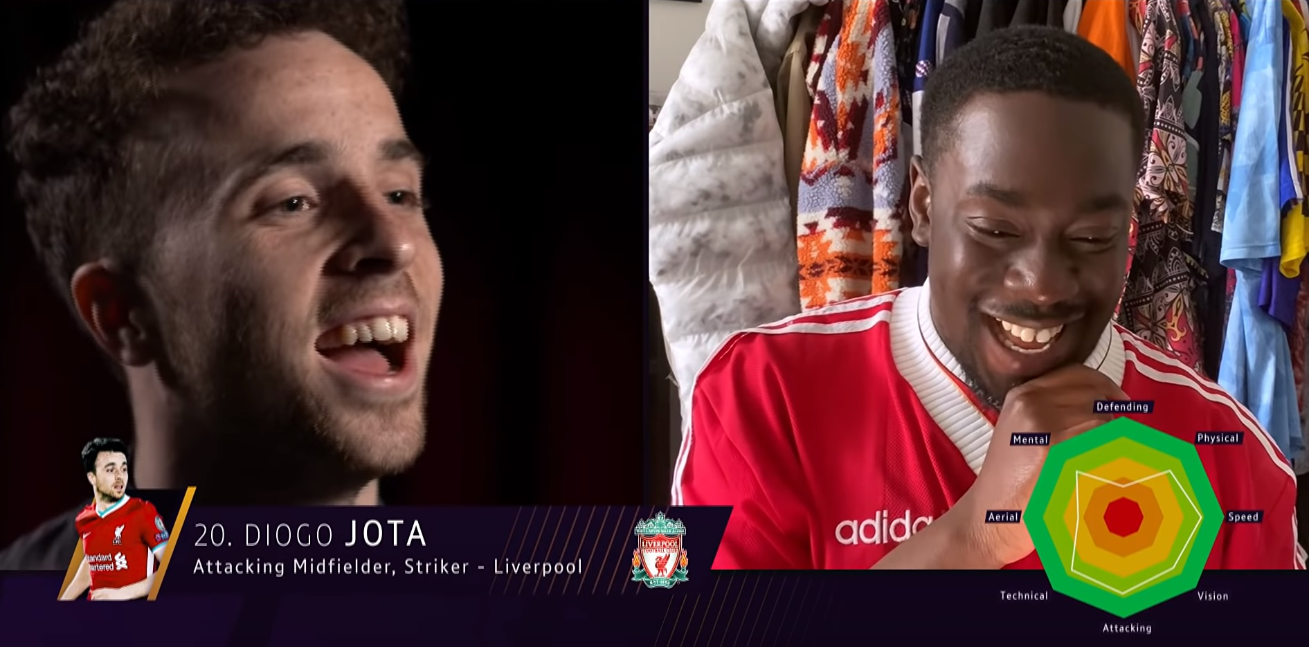 (Video) Liverpool star Diogo Jota jokes about his Football Manager rating: 'It's wrong! I deserve more'