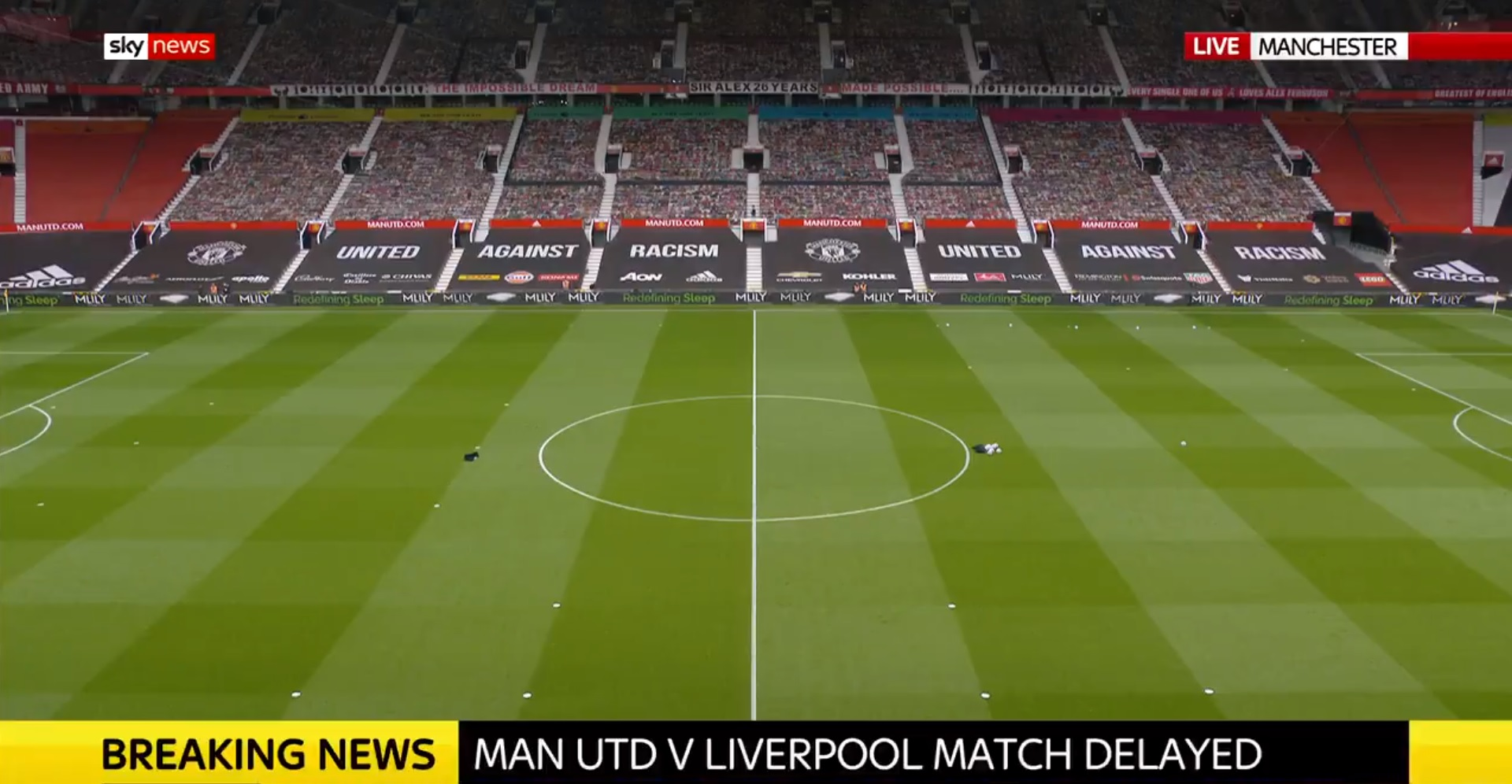 Liverpool v Manchester United clash delayed 'on safety grounds'