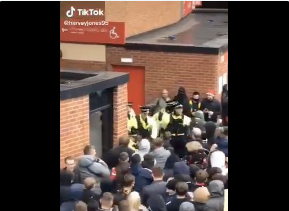 (Video) 'Peaceful protests, eh?' New footage shows United fans screaming 'You Scouse B*******' as they attack police