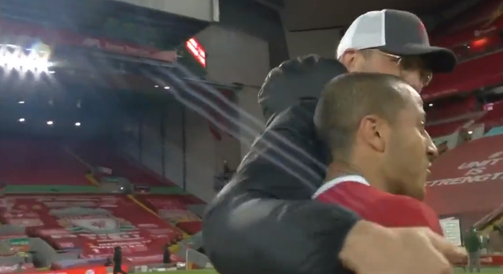 (Video) Beaming Klopp embraces Thiago at FT after late screamer ensures Liverpool win