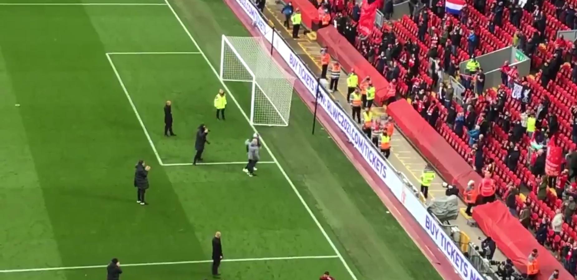 (Video) Klopp takes retiring LFC kit-man over to cheering Kop in beautiful scenes