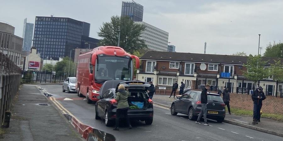 (Photos) Man Utd fans slash tyres on Liverpool coach
