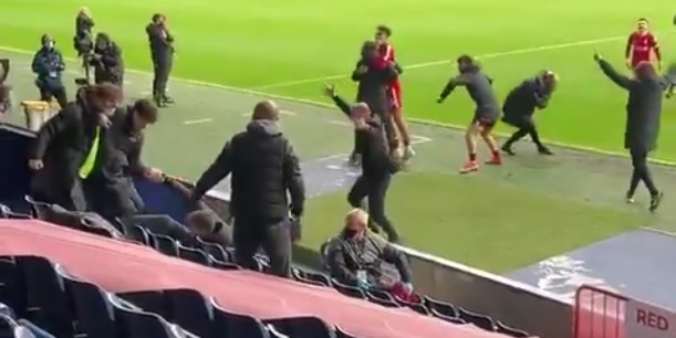 (Video) Liverpool bench go crazy for Alisson's match-winning goal in unseen footage