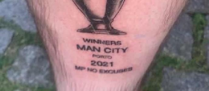 (Photo) Man City fan gets Champions League winners tattoo before final defeat