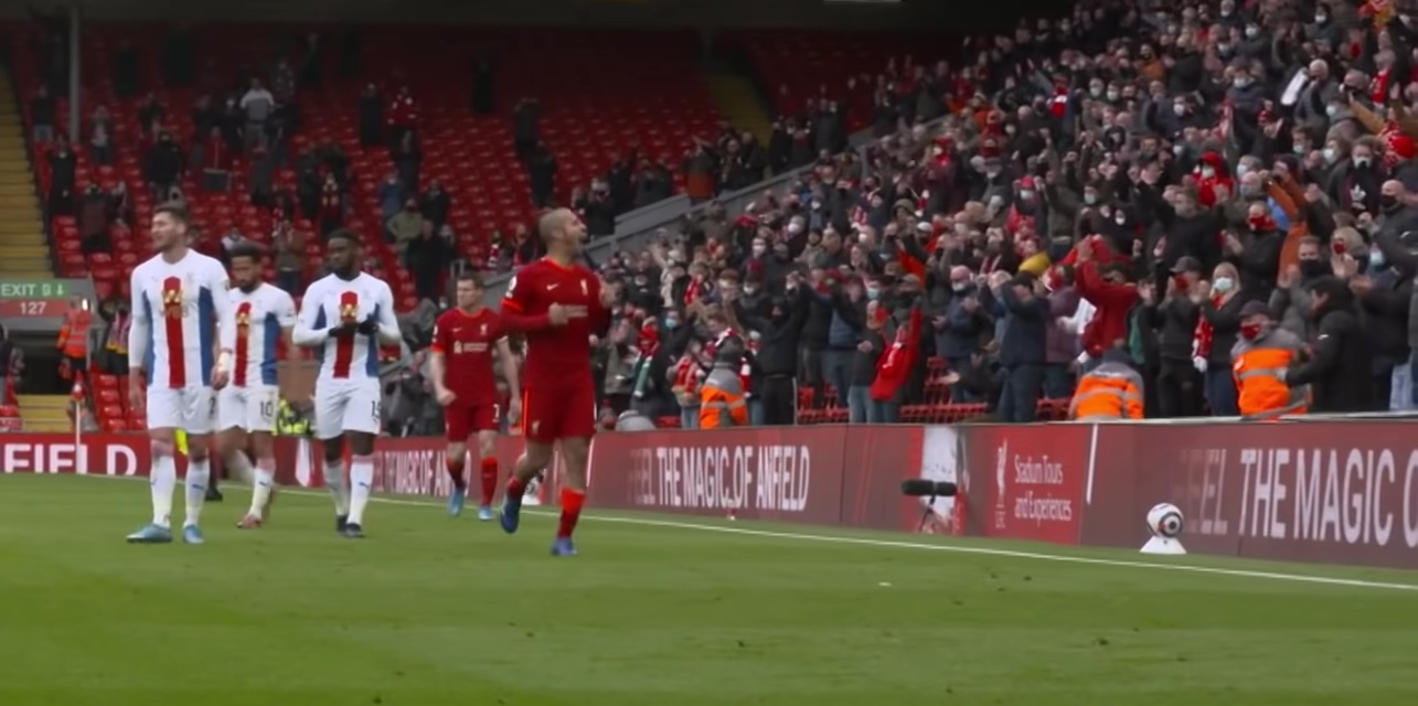 (Video) Thiago celebrates with fans at Anfield after crucial Liverpool win