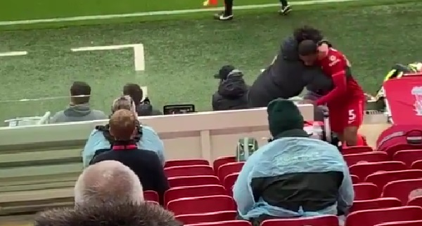 (Video) Every member of LFC's bench hugs Wijnaldum in emotional scenes, as Anfield blasts Gini's song