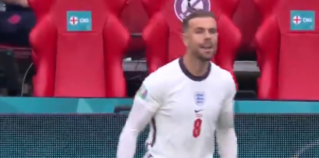 (Video) Jordan Henderson's reaction to Kane's England goal whilst waiting to come on unveiled in goosebump-inducing clip