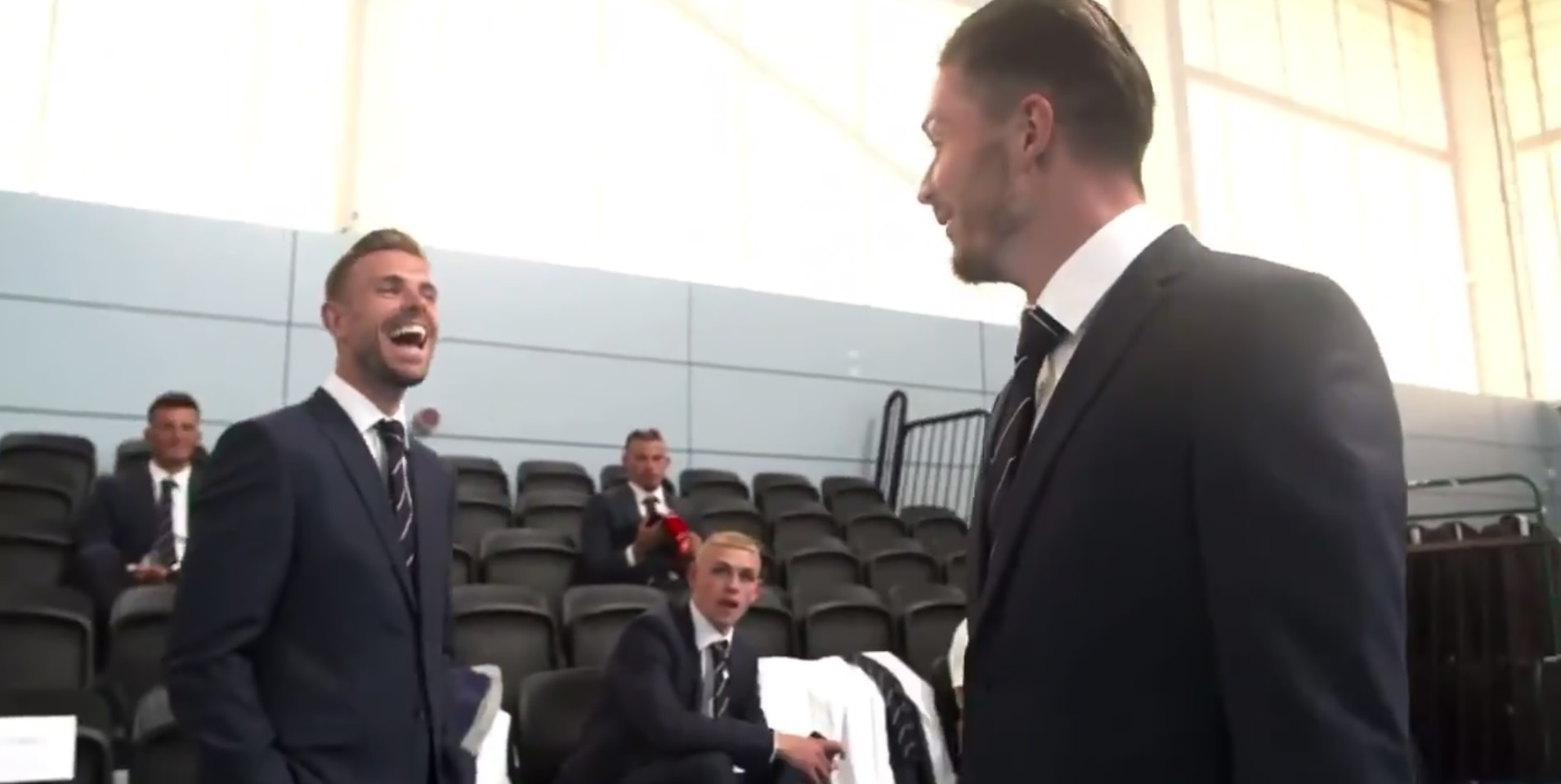 (Video) Henderson & Grealish joke about Champions League; Foden is gob-smacked