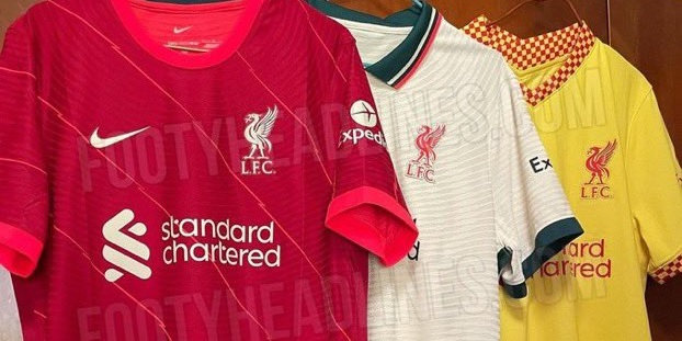 (Photo) All three Liverpool kits for 2021/22 pictured together in leaked image