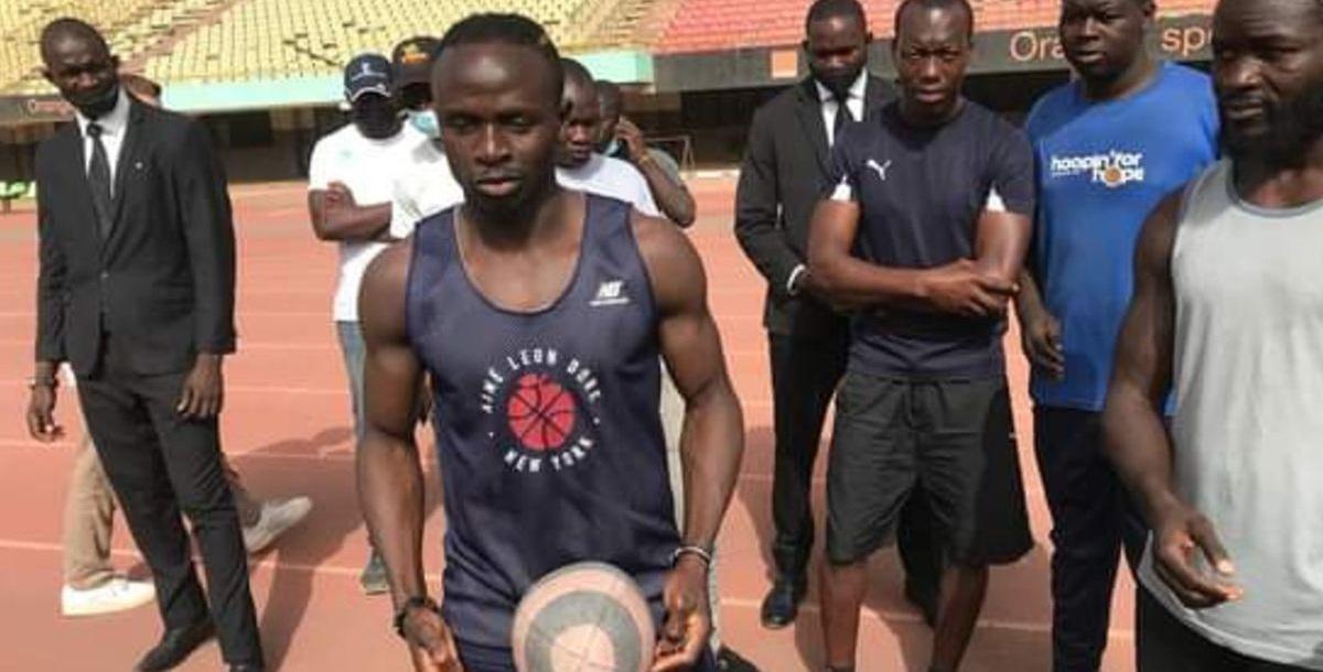 Liverpool star Sadio Mane trains with Senegal U20s' national rugby team