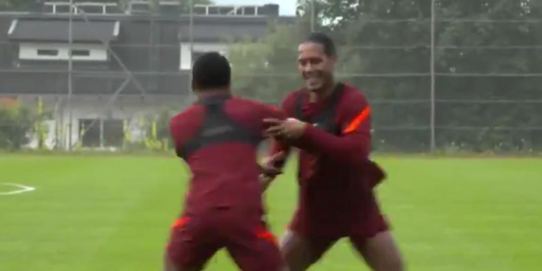 (Video) Giggly Virgil van Dijk & Joe Gomez are absolutely loving pre-season training