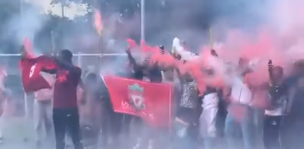 (Video) Konate reveals Liverpool squad number as friends set off red flares and fireworks