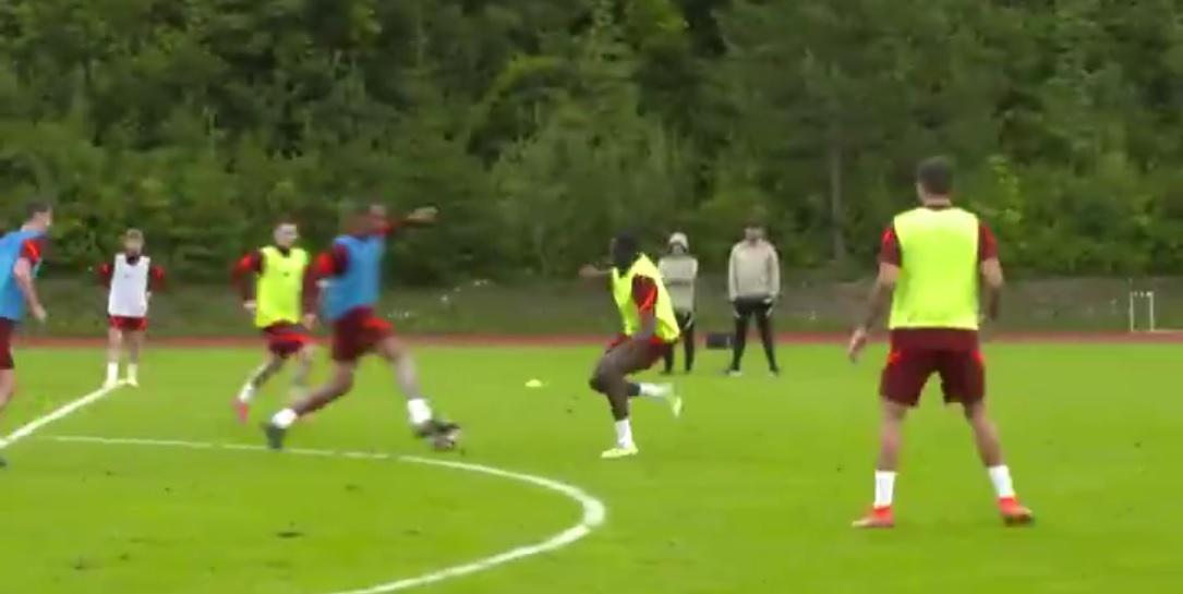 (Video) Joel Matip nutmegs Ibou Konate in training comp by LFC TV