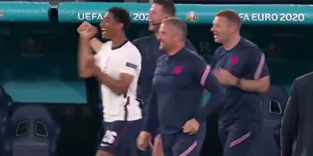 (Video) Brilliant clip shows Bellingham's reaction to Henderson's goal for England