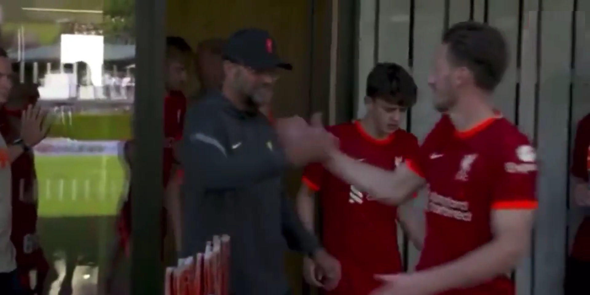 (Video) Jurgen Klopp shares wholesome moment with Liverpool defender before debut