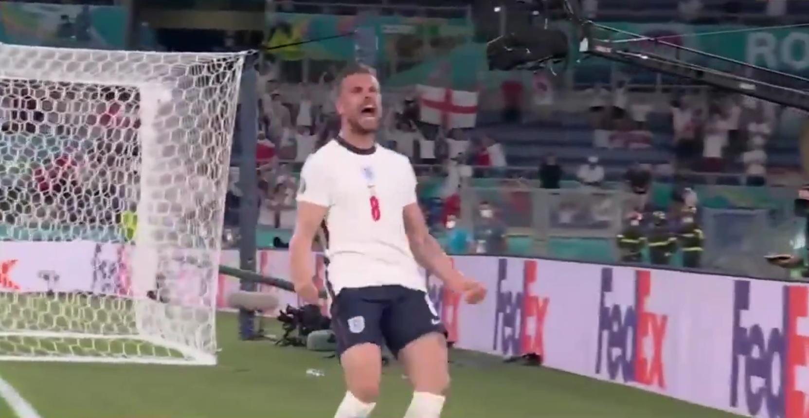 (Video) Jordan Henderson scores first England goal & drops big passionate celebration