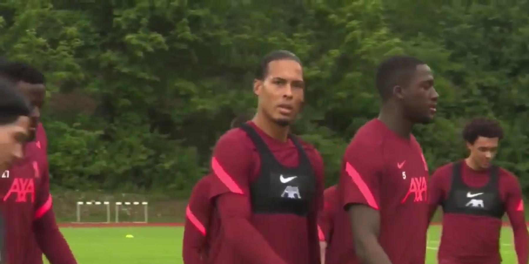 (Video) Virgil van Dijk playfully messes with Ibou Konate in Liverpool training