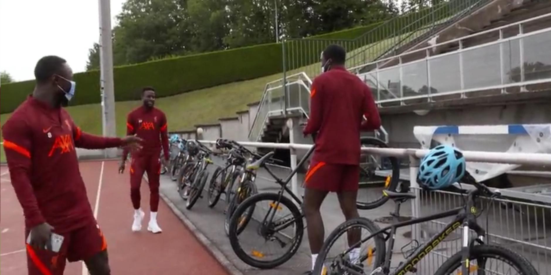 (Video) Keita & Origi mock Konate for how he locks up his bike at Liverpool training camp