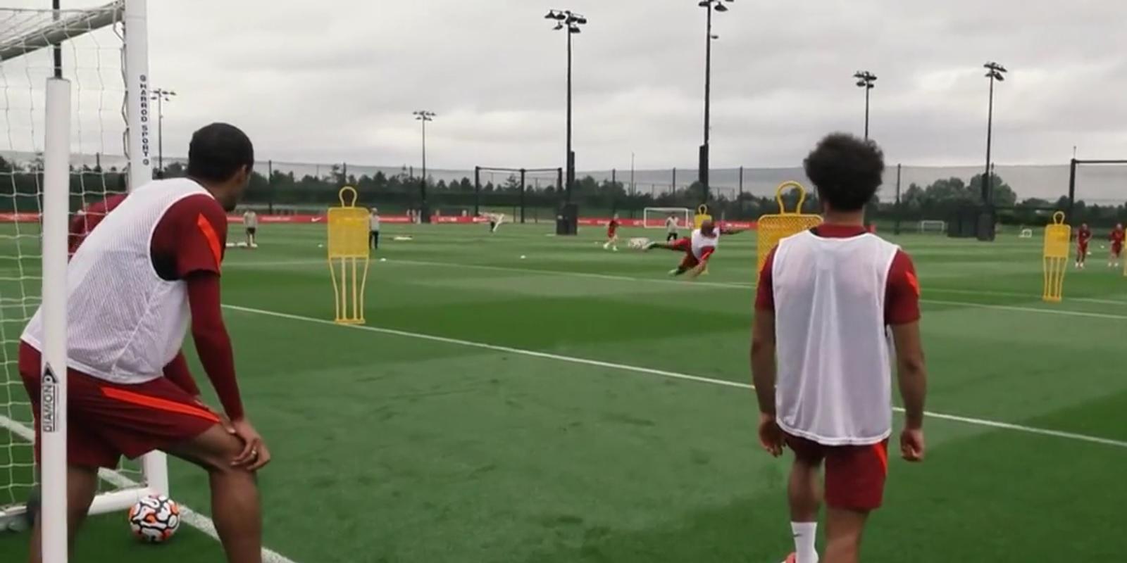 (Video) Thiago scores stunning acrobatic goal in Liverpool training