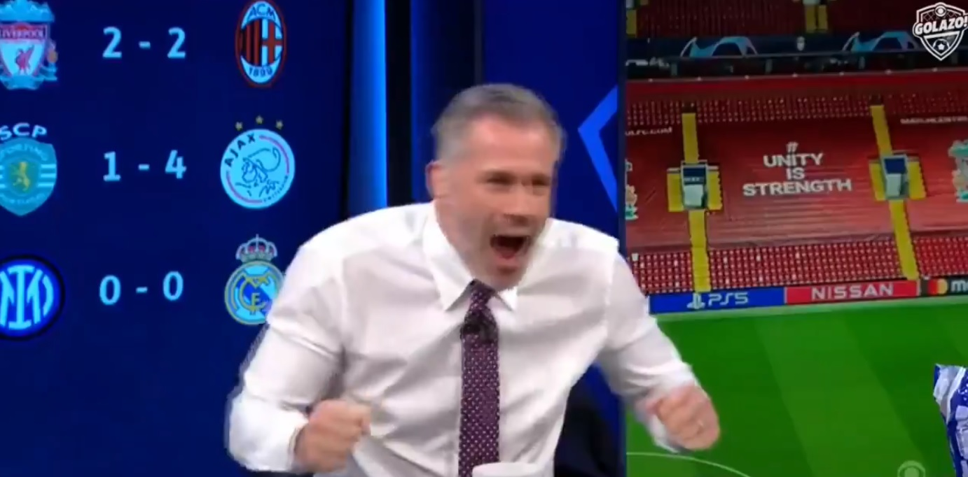 (Video) Buzzing Carragher can't contain himself in hilarious reaction to Henderson's match-winning goal