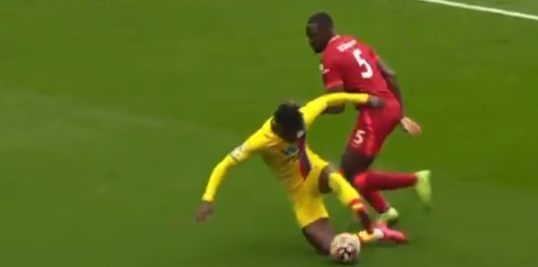 (Video) Zaha floored in battle with Liverpool debutant Konate