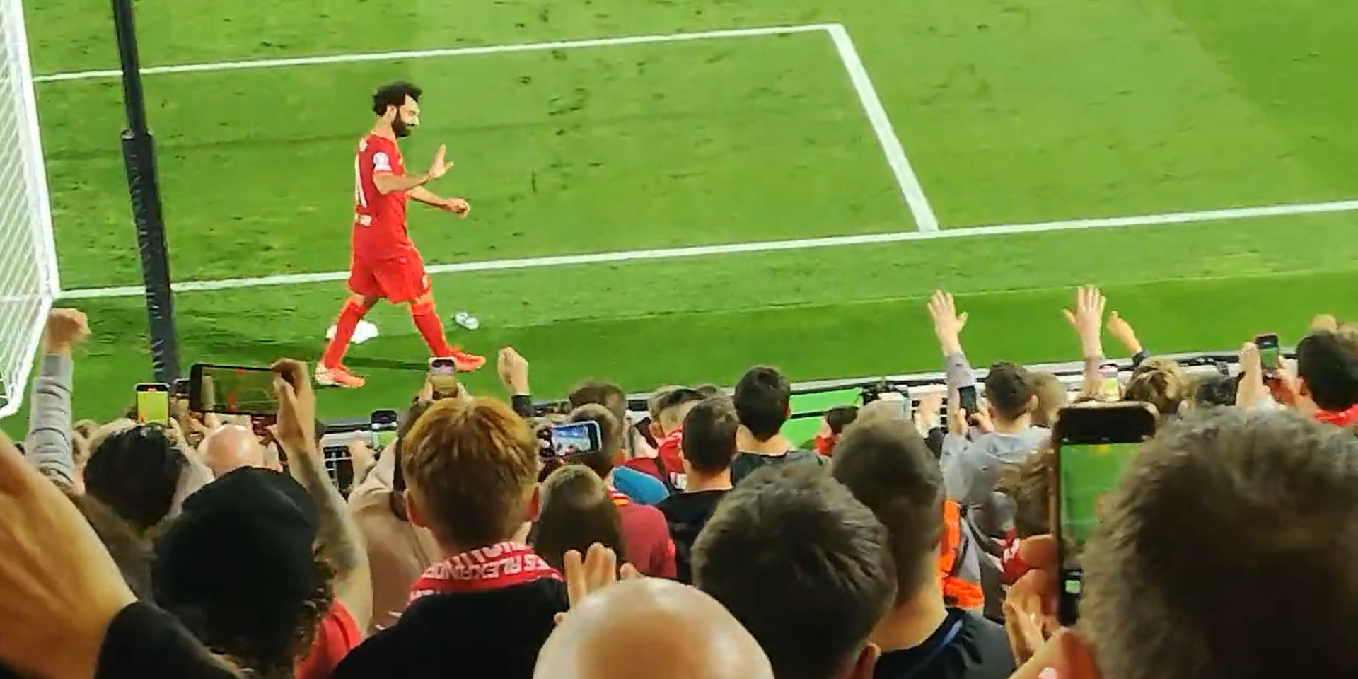 (Video) Salah acknowledges Liverpool fans roaring 'Egyptian King' chant in fan footage during UCL clash