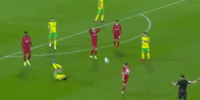 (Video) Bizarre moment Kostas Tsimikas randomly blasts ball at Liverpool team-mate