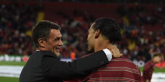 (Photo) Paolo Maldini pictured chatting with Virgil van Dijk as Liverpool beat AC Milan in five-goal thriller