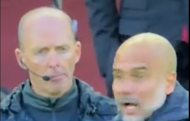 (Video) Mike Dean hilariously unbothered by raging Guardiola's reaction to Milner challenge