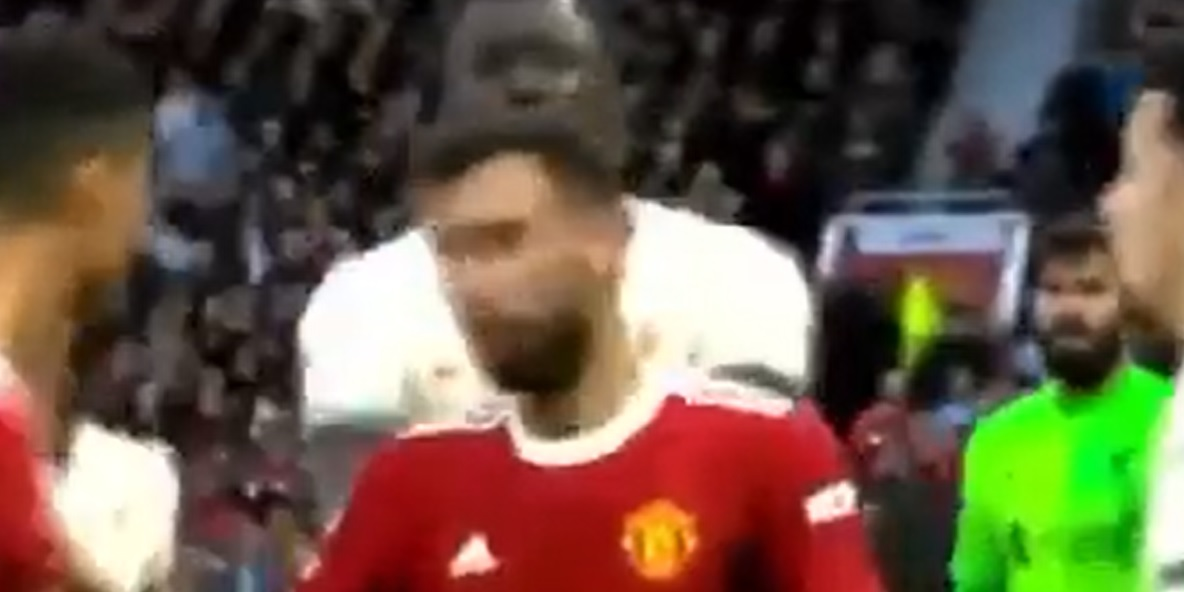 (Video) Ibrahima Konate gets right into thick of Liverpool-United brawl with shove on Bruno Fernandes